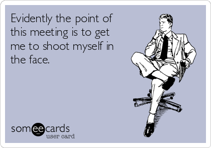 Evidently the point of this meeting is to get me to shoot myself in the face.
