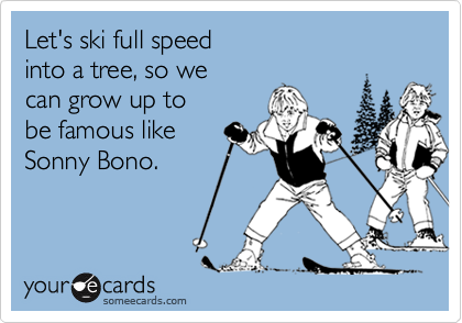 Let's ski full speed into a tree, so we can grow up to be famous likeSonny Bono.