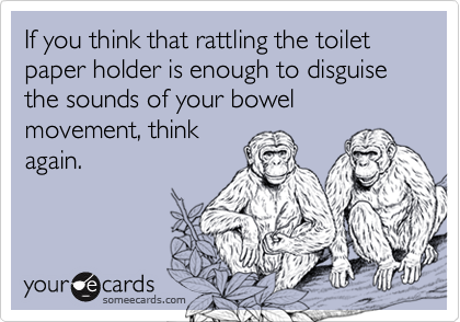 If you think that rattling the toilet paper holder is enough to disguise the sounds of your bowel movement, think