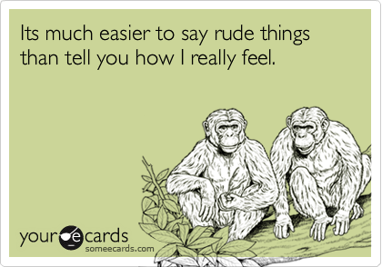 Its much easier to say rude things than tell you how I really feel.
