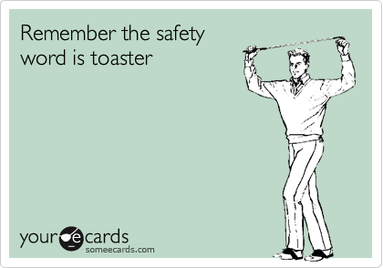 Remember the safety word is toaster