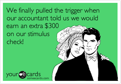 We finally pulled the trigger when our accountant told us we would earn an extra $300on our stimuluscheck!