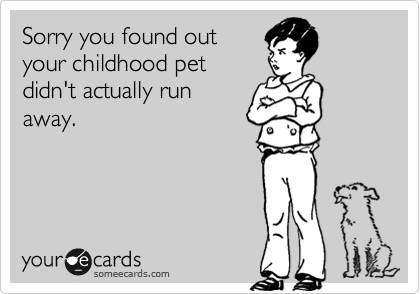 Sorry you found outyour childhood petdidn't actually runaway.