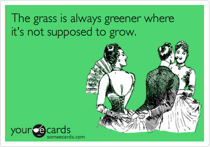 The grass is always greener where it's not supposed to grow.