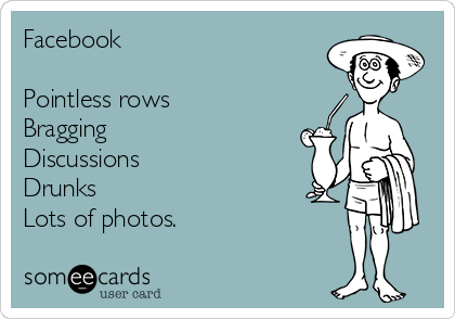 Facebook  Pointless rows Bragging Discussions Drunks Lots of photos.