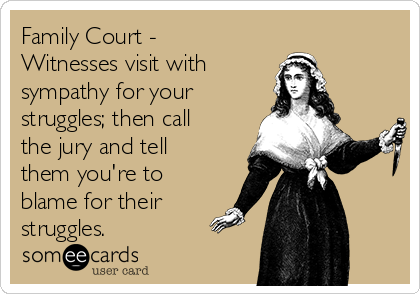 Family Court - Witnesses visit with  sympathy for your struggles; then call the jury and tell them you're to blame for their struggles.