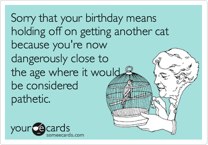 Sorry that your birthday means  holding off on getting another cat because you're nowdangerously close tothe age where it wouldbe consideredpathetic.