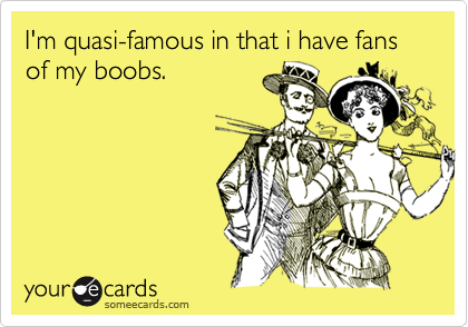I'm quasi-famous in that i have fans of my boobs.
