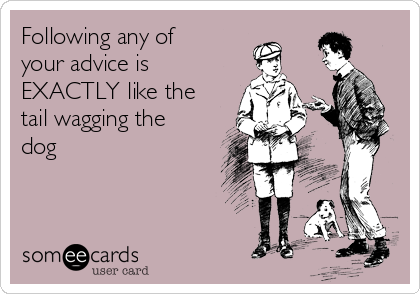 Following any of your advice is EXACTLY like the tail wagging the dog