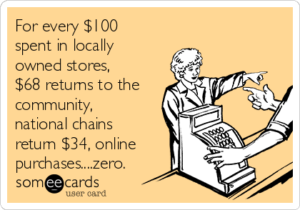 For every $100 spent in locally owned stores, $68 returns to the community, national chains return $34, online purchases....zero.