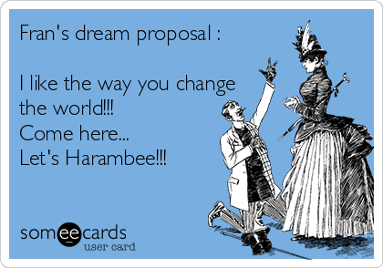 Fran's dream proposal :  I like the way you change the world!!! Come here...  Let's Harambee!!!