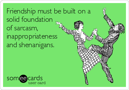 Friendship must be built on a solid foundation of sarcasm, inappropriateness and shenanigans.