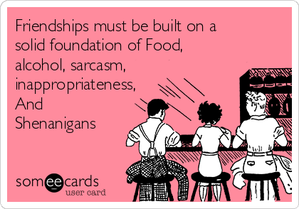 Friendships must be built on a solid foundation of Food, alcohol, sarcasm, inappropriateness, And Shenanigans