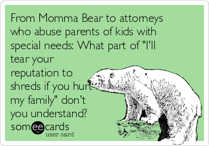 "From Momma Bear to attorneys who abuse parents of kids with special needs: What part of ""I'll tear your reputation to shreds if you hurt my family"" don't you understand?"