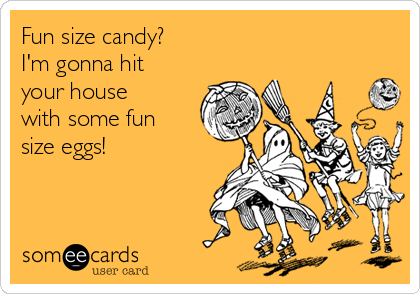 Fun size candy? I'm gonna hit your house with some fun size eggs!