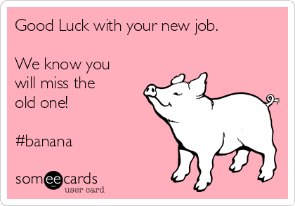 Good Luck with your new job.  We know you will miss the old one!    #banana