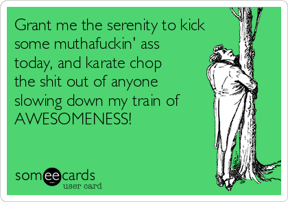 Grant me the serenity to kick some muthafuckin' ass today, and karate chop the shit out of anyone slowing down my train of AWESOMENESS!