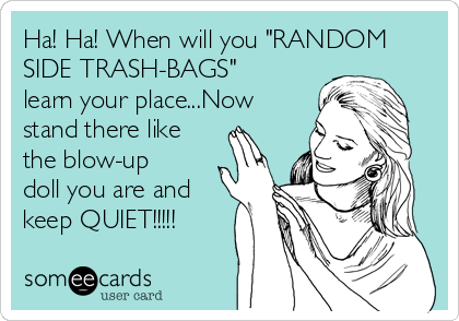 "Ha! Ha! When will you ""RANDOM SIDE TRASH-BAGS"" learn your place...Now stand there like the blow-up doll you are and keep QUIET!!!!!"