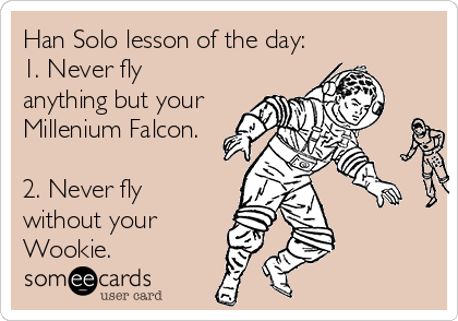 Han Solo lesson of the day:  1. Never fly anything but your Millenium Falcon.  2. Never fly without your Wookie.
