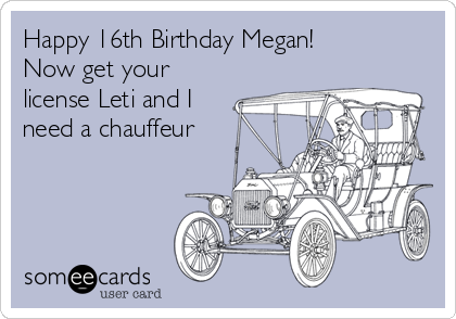 Happy 16th Birthday Megan! Now get your license Leti and I need a chauffeur