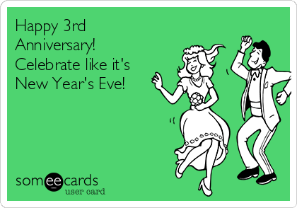Happy 3rd Anniversary! Celebrate like it's  New Year's Eve!