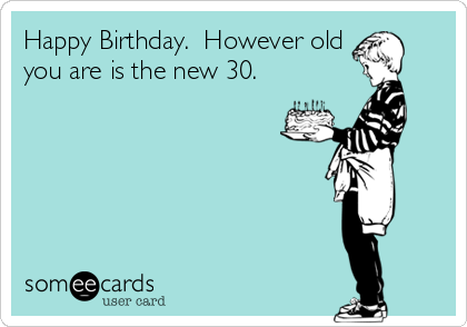 Happy Birthday.  However old you are is the new 30.