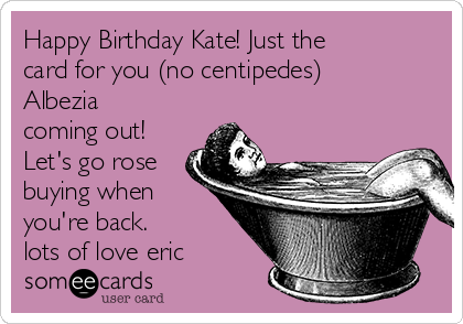 Happy Birthday Kate! Just the card for you (no centipedes) Albezia coming out! Let's go rose buying when you're back. lots of love eric