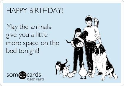 HAPPY BIRTHDAY!  May the animals give you a little more space on the bed tonight!