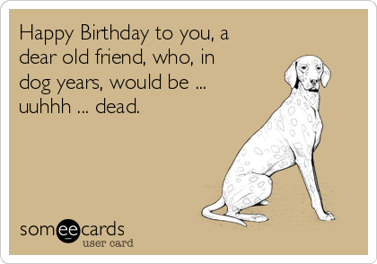Happy Birthday To You A Dear Old Friend Who In Dog Years