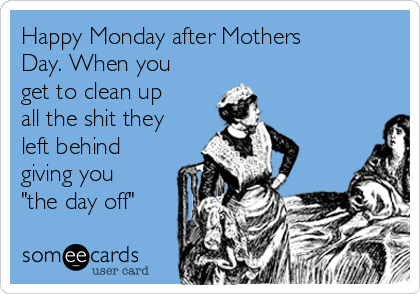 """Happy Monday after Mothers Day. When you get to clean up all the shit they left behind giving you """"the day off"""""""