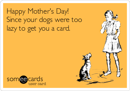 Happy Mother's Day! Since your dogs were too lazy to get you a card.