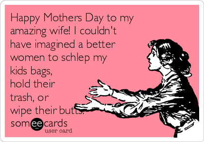 Happy Mothers Day to my amazing wife! I couldn't have imagined a better women to schlep my kids bags, hold their trash, or wipe their butts.
