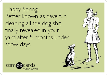 Happy Spring.. Better known as have fun  cleaning all the dog shit  finally revealed in your yard after 5 months under snow days.