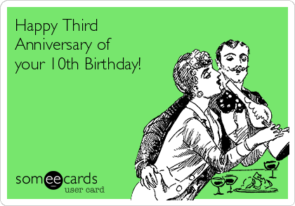 Happy Third  Anniversary of your 10th Birthday!