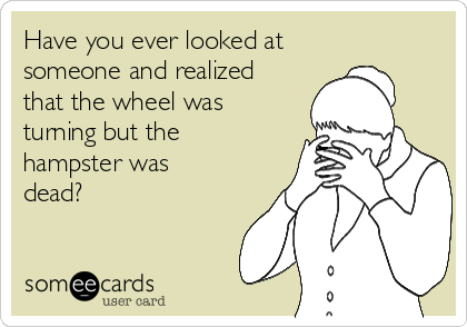 Have you ever looked at someone and realized that the wheel was turning but the hampster was dead?