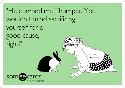 """""""He dumped me Thumper. You wouldn't mind sacrificing yourself for a good cause, rightI"""""""