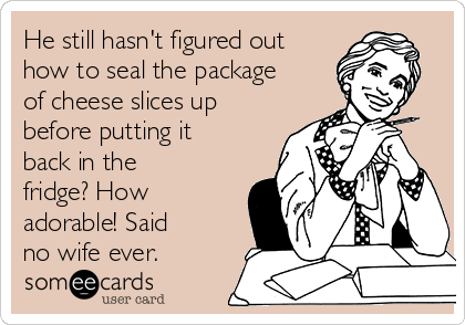 He still hasn't figured out how to seal the package of cheese slices up before putting it back in the fridge? How adorable! Said no wife ever.