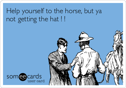 Help yourself to the horse, but ya not getting the hat ! !
