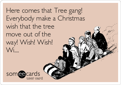 Here comes that Tree gang!  Everybody make a Christmas wish that the tree move out of the way! Wish! Wish! Wi....