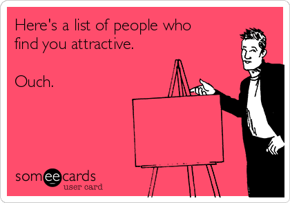 Here's a list of people who find you attractive.   Ouch.