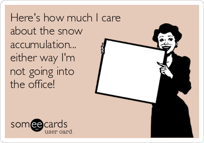 Here's how much I care about the snow accumulation... either way I'm not going into the office!