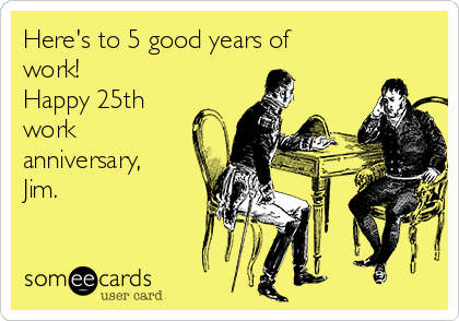 25th work anniversary cards
