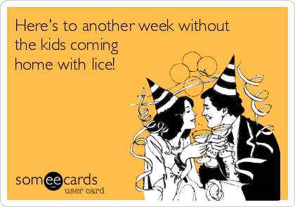 Here's to another week without the kids coming home with lice!