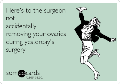 Here's to the surgeon not  accidentally removing your ovaries during yesterday's surgery!