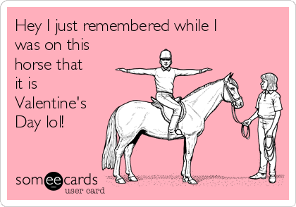 Hey I just remembered while I was on this horse that it is Valentine's Day lol!