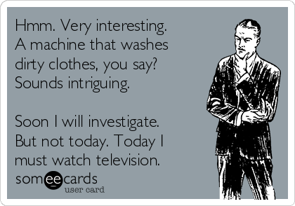 Hmm. Very interesting. A machine that washes dirty clothes, you say? Sounds intriguing.  Soon I will investigate. But not today. Today I must watch television.
