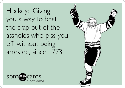Hockey:  Giving you a way to beat the crap out of the assholes who piss you off, without being arrested, since 1773.
