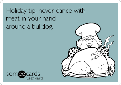 Holiday tip, never dance with meat in your hand around a bulldog.