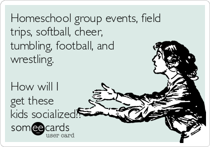 Homeschool group events, field trips, softball, cheer, tumbling, football, and wrestling.   How will I get these kids socialized?!