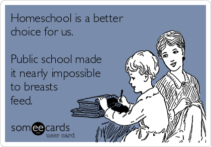 Homeschool is a better choice for us.   Public school made it nearly impossible to breasts feed.